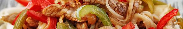 Cerdo salteado con verduras