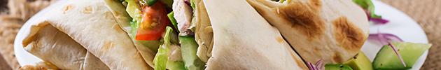 Wraps (opción de acompañamiento mix de verdes y tomate)
