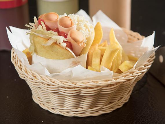 Combo - Arepa liviana + papas fritas + bebida