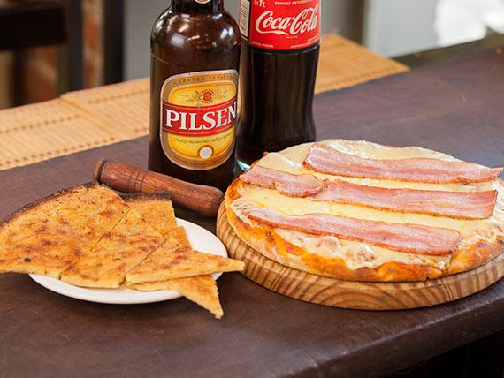 Promo - Pizzeta con muzzarella con un gusto + faina + Pilsen 1 L o Coca Cola 1 L