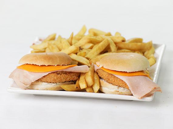 Promo - 2 rebozadas de pollo al pan con queso cheddar + papas fritas