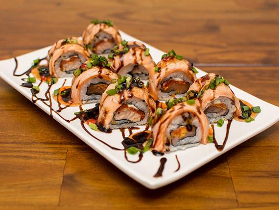 Sushi especial uramaki de salmão (8 peças)