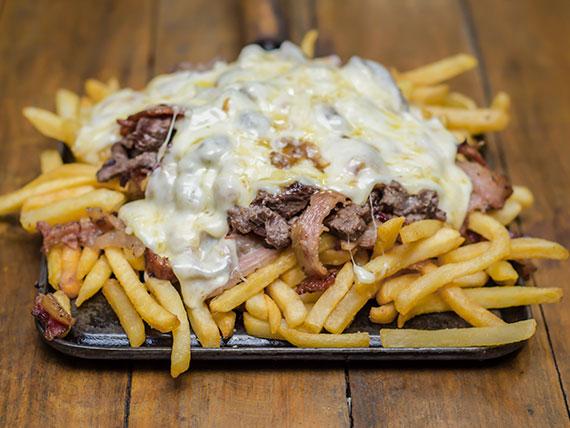 Porção - Filé com batata frita, bacon e queijo