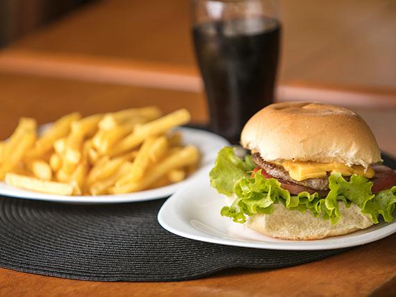 Combo - X-burguer + porção batata frita + Coca Cola lata