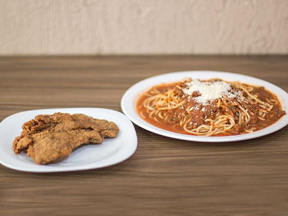 Combinado - Spaguetti + filet mignon à milanesa