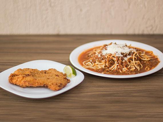 Combinado - Spaguetti + filet de frango à milanesa