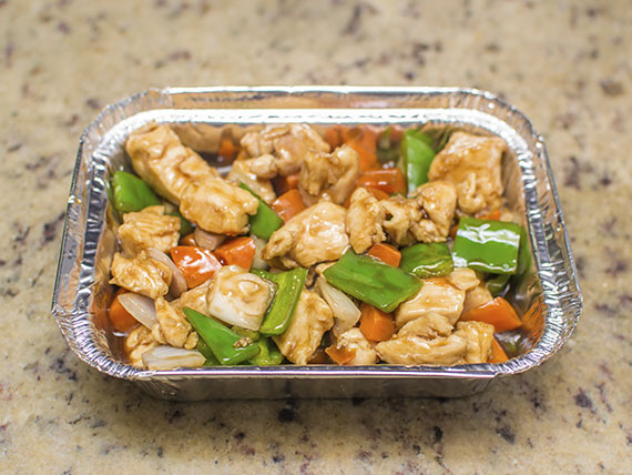Promoção - frango xadrez, arroz chau chau + salada