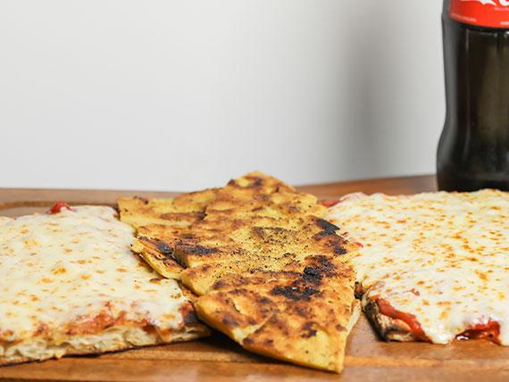 Combo 2 - 2 pizzas con muzzarella + 2 fainá + Gaseosa 1 L