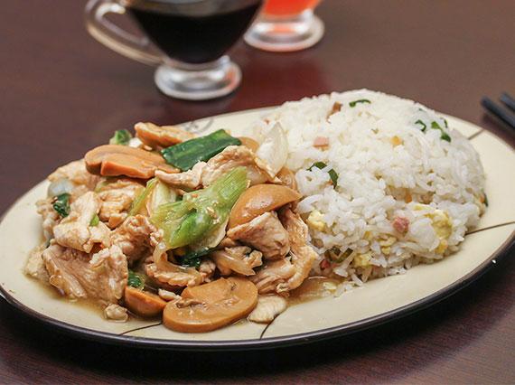 Colación 3 - Carne al champignon + arroz chaufan