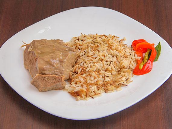 Plateada al jugo con arroz árabe