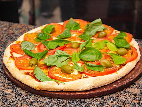 Pizza napolitana con albahaca (con o sin ajo)