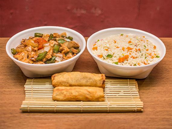 Promoção - Frango xadrez ou frango com legumes + 1 porção de arroz yakimeshi + 1 porção de rolinho primavera