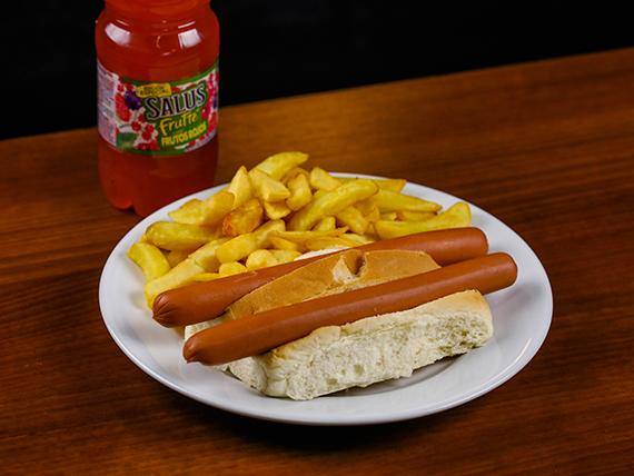 Menú infantil - Panchos con papas fritas + refresco 500 ml