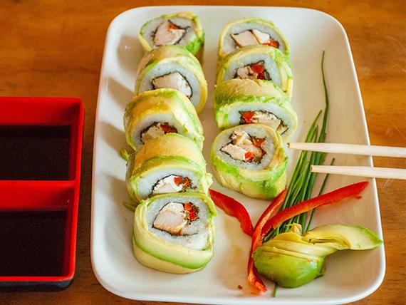 Roll de pollo teriyaki, queso y pimentón envuelto en palta (9 piezas)