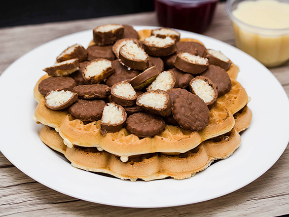 4 Waffles con prestigio y mini morochas