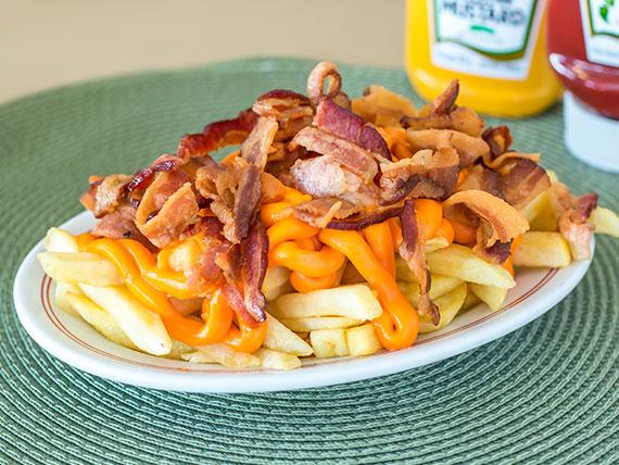 Porção fritas, cheddar e bacon
