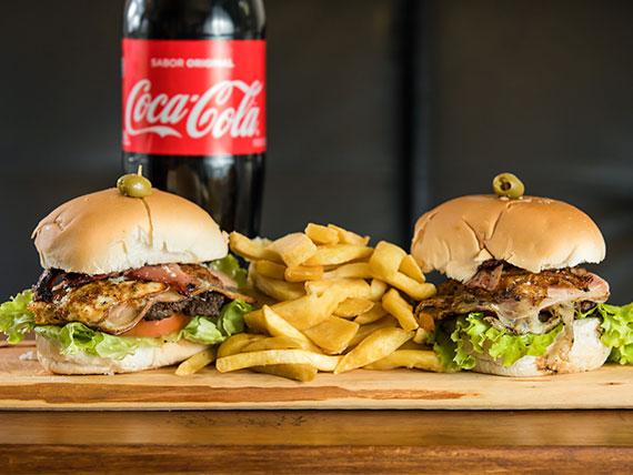 Promo 4 - 2 hamburguesas Cosa Nostra + guarnición + bebida 1.5 L