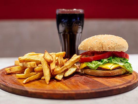 Promo soltero - Hamburguesa argentina + gaseosa 250 ml