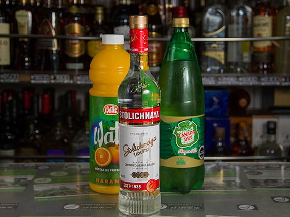 Promo 3 - Vodka Stolichnaya 750 ml + bebida o jugo 1.5 L