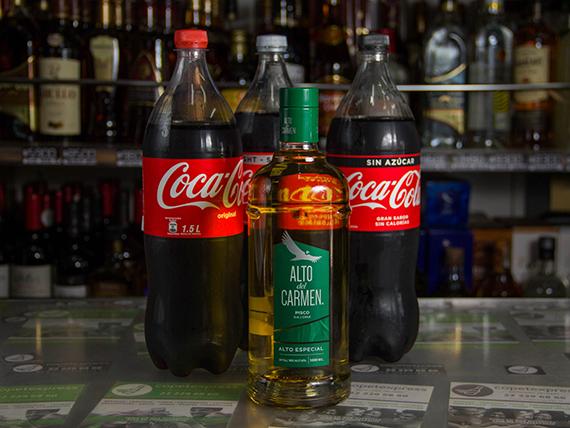 Promo 2 - Pisco Alto del Carmen 1000 ml + bebida 1.5 L
