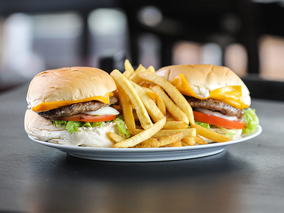 Promo 1 - 2 hamburguesas con fritas