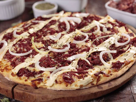 Pizza carne seca com Philadelphia