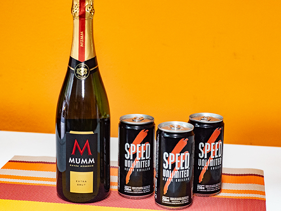 Combo 40 - Champagne Mumm 750 ml + 3 energizantes Speed 250 ml