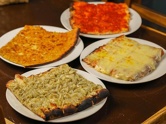 Promo linea de 1 completa - 1 Muzzarella + 1 Pizza + 1 Fainá + 1 Figazza
