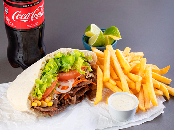 Menú 1 - Doner Kebap + papas fritas + bebida línea Coca Cola 600 ml