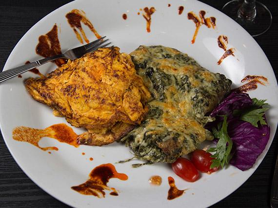 Filet de merluza Maitre Hotel con omelette de calabaza