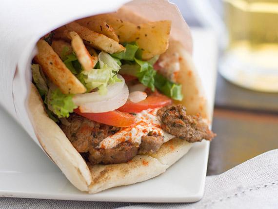 Cono pita shawarma de cerdo
