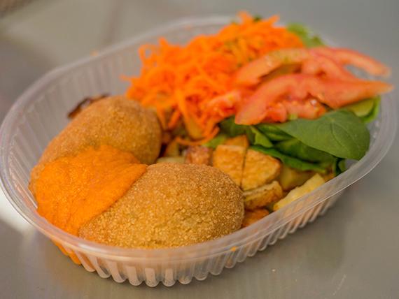 Croquetas de arroz yamaní con queso fresco