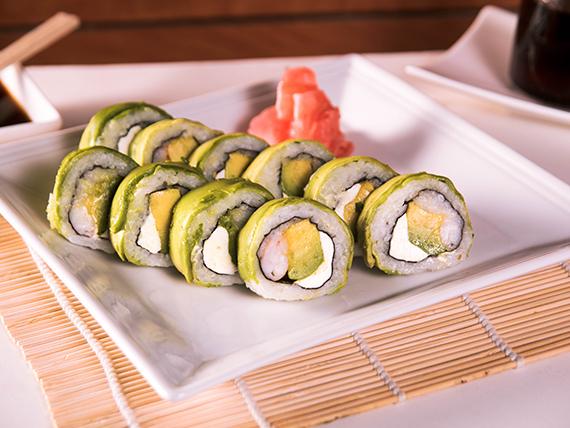 Roll camarón, queso crema y palta