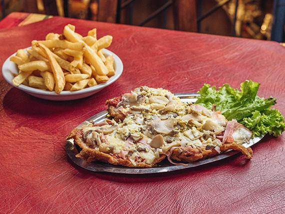 Milanesa común a la pizza