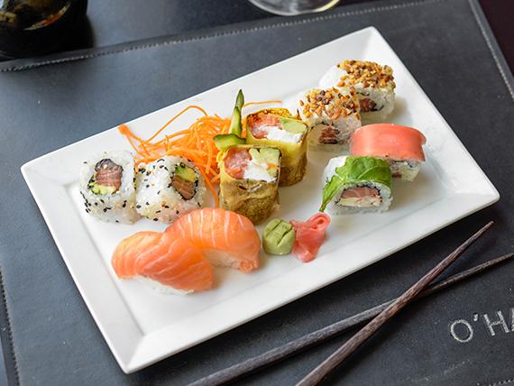 Promo premium - Salmón, salmón ahumado y langostinos (14 piezas)