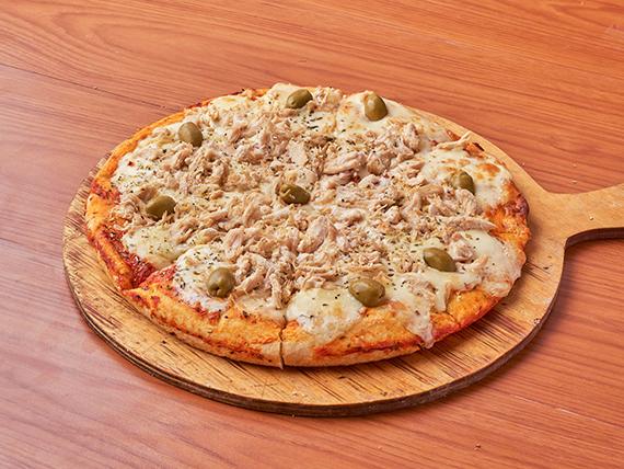 Pizza con pollo a la crema de verdeo