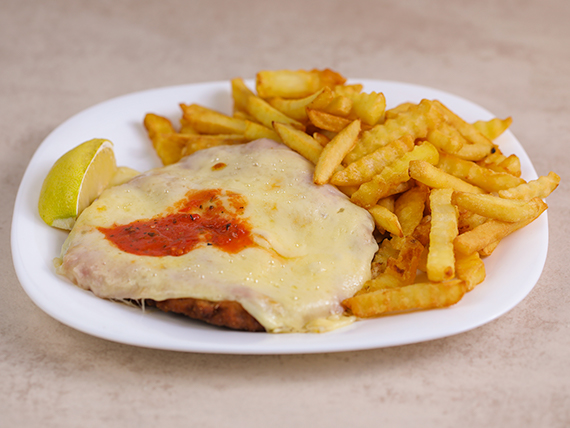 Milanesa napolitana con papas fritas (chica)
