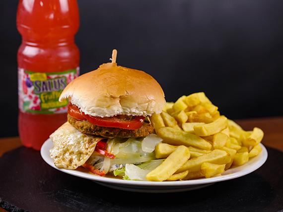 Hamburguesa vegetariana + Salus fruté 500 ml (individual)