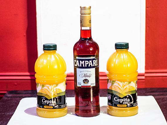Promo - Campari 750 ml + 2 jugos Cepita naranja 1 L