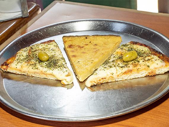 Promo 11 - Pizza muzzarella (2 porciones) + fainá (porción)