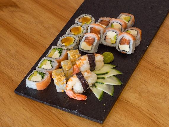 Combo Dimona (salmón ahumado y langostinos) - 18 piezas