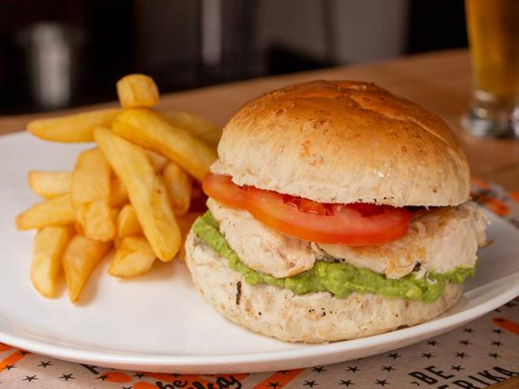 Chicken sándwich de pollo y guacamole