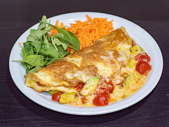 12 -  Omelette de tomates cherry, palta y muzza