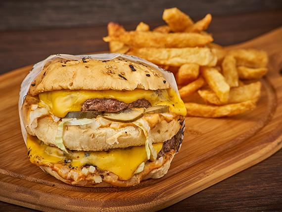 Combo - Hamburguesa Big Rosario + papas fritas