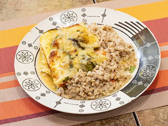 Cake de vegetales y arroz integral