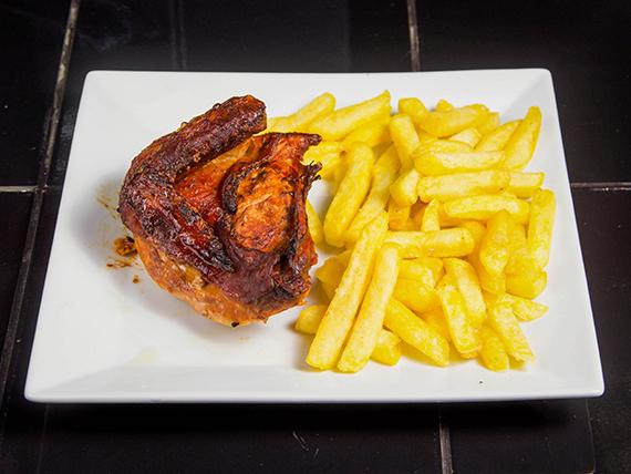 Promo 5 - 1/4 pollo + papas fritas + bebida 350 ml