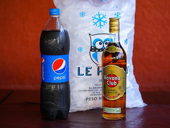 Promo - Ron Havana Club 750 ml + refresco 1.5 L + 3 K de hielo