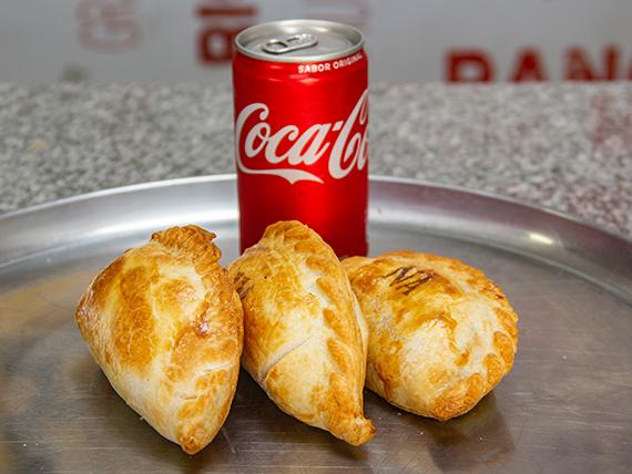 Promo mediodía - 3 empanadas + Coca Cola 220 ml