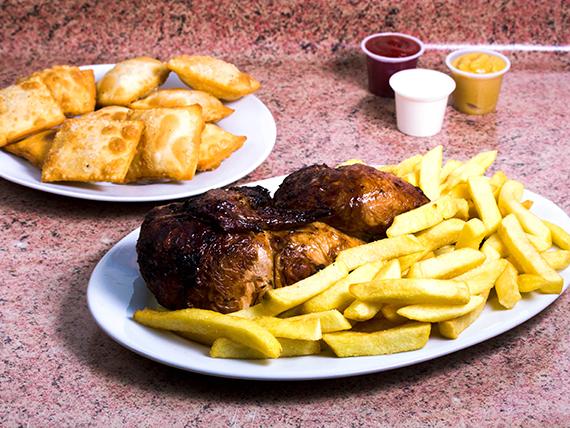 Promo 3- 1/2 Pollo asado+ 2 papas fritas + 10 empanaditas + bebida 1.5 L