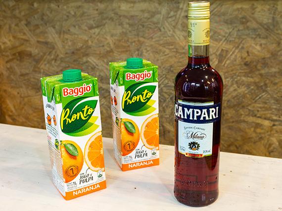 Promo 18 - Campari 1 L + 2 jugos baggio naranja 1 L